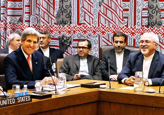 "Iranian Foreign Minister Mohammad Javad Zarif and John Kerry agree on ""peace"" at the cost of Israel."