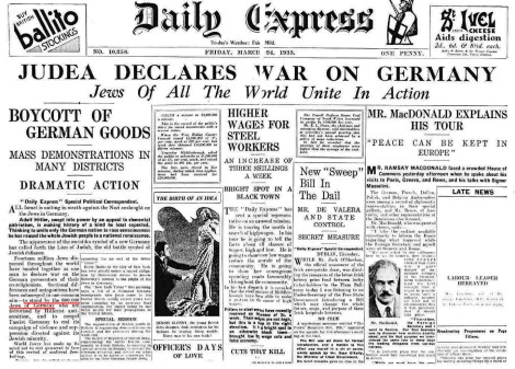 A not intended prophetic message in Daily Express in the UK in 1933.