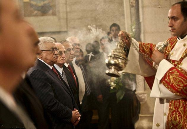 Mahmoud Abbas celebrating Catholic mas in Bethlehem.