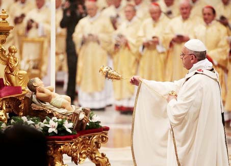 "The Pope worship a created plastic doll, an idol of ""Catholic Jesus""."
