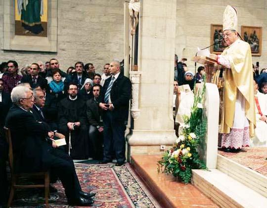 PLO-leader Mahmoud Abbas celebrating mass held by the Latin Patriarch of Jerusalem.
