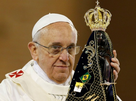 Under his visit to Brazil, the Pope carried the black Brazilian version of The Queen of heaven.