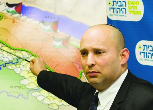 Naftali Bennett warns Israelies not to accept a the Mountains of Zion to be taken over by the enemy.