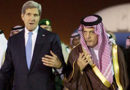 John Kerry is an agreement with  ‪Saudi Foreign Minister Prince Saud Al-Faisal bin Abdulaziz al-Saud,.