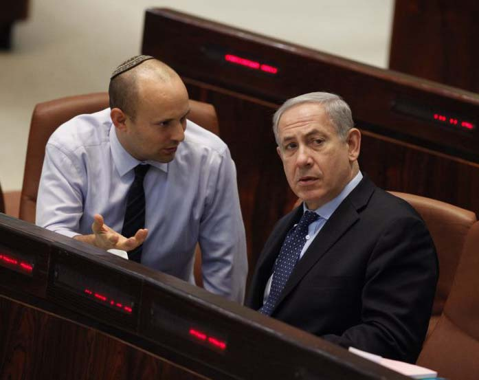 Naftali Bennet tries his best to convince Benjamin Netanyahu.