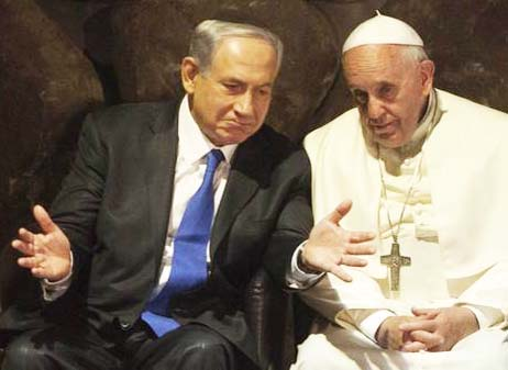 Benjamin Netanyahu resisted the Pope. Here at the Holocaust Museum in Jerusalem.