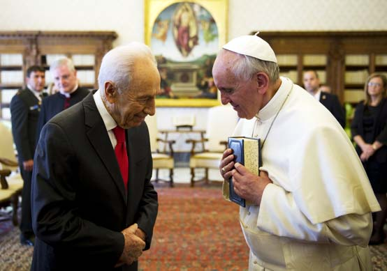 The Pope and Israeli President Shimon Peres are Order Brothers.