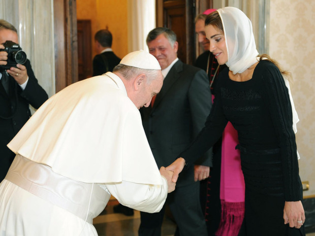 The Pope is a friend of the World, bowing before the Queen of Jordan.