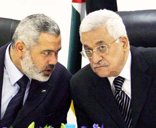 Ismail Hanyet of the Hamas and PLO-boss Abu Mazen are again united.