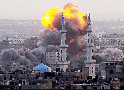 The Israeli air force strike islamic terrorist sites in Gaza.