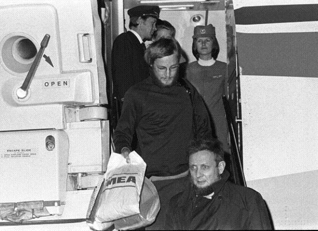 Norwegian terrorists Mr. Lars Gule being arrested in Beirut in 1977.