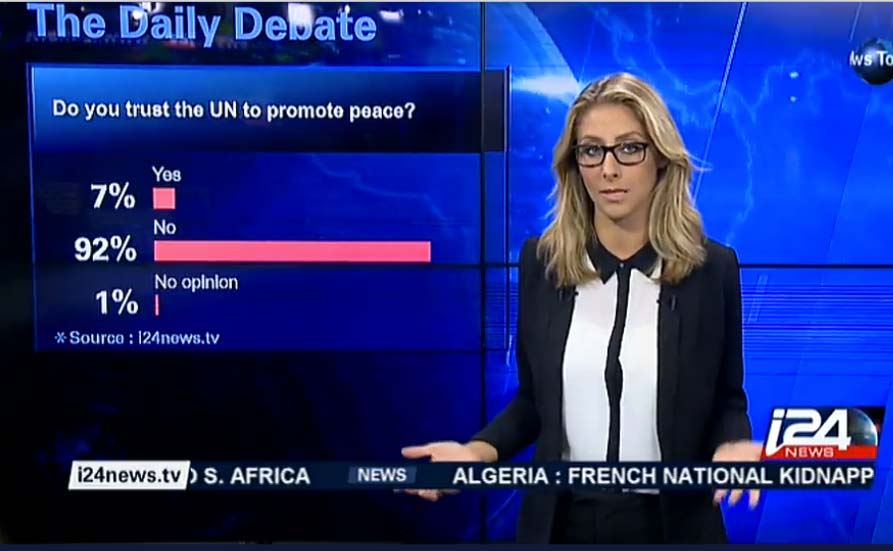 The Israel TV i24news disply the lack of confidence in the United Nations.