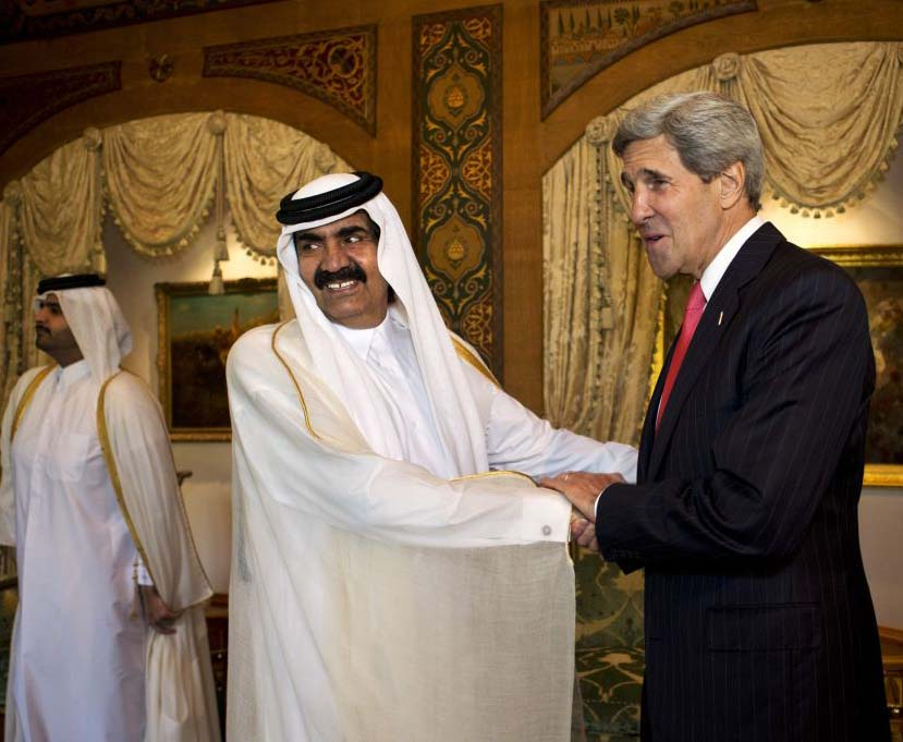 Amir, Sheikh Hamad bin Khalifa Al Thani at John Kerry and Al Wajbah Palace during the former's visit to Qatar.
