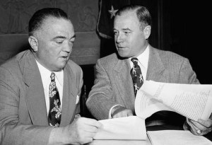 Former FBI Director J Edgar Hoover (left) is said to have approved of the Nazi recruitment practice