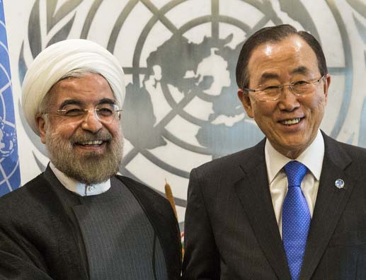 Iranian President Hassan Rouhani and UN General Secretary Ban Ki -Moon.