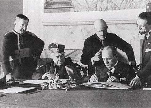 February 11, 1929. Facist Benito Mussolini gifts the Vatican to Pope Pius IX., as a part of th Lateran accord.