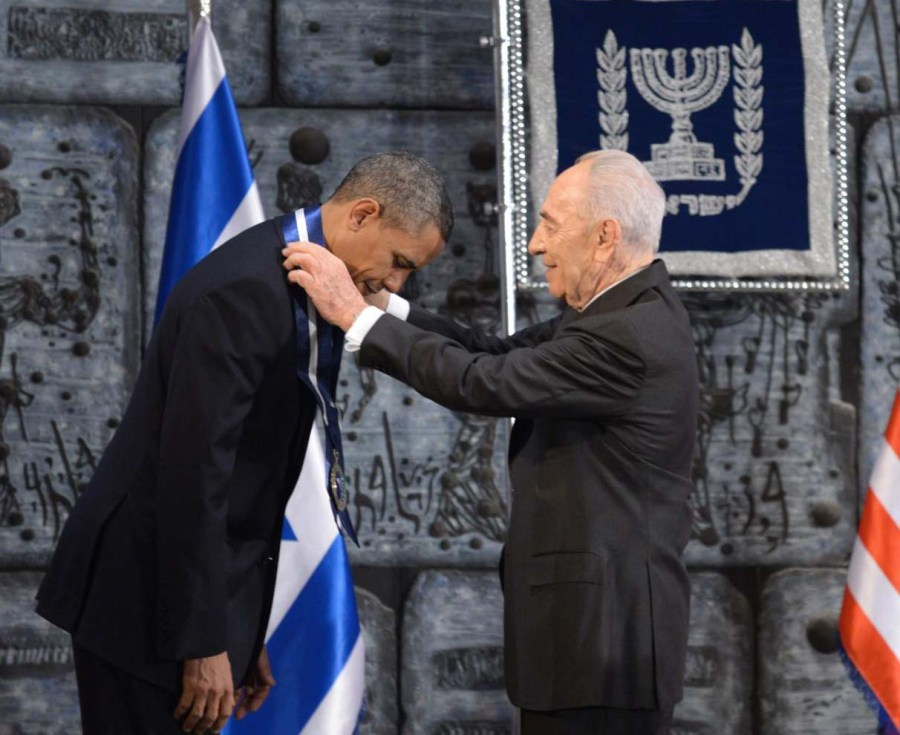 Labour-paty Preident Shimon Peres honored Obama for looking after Israels security.