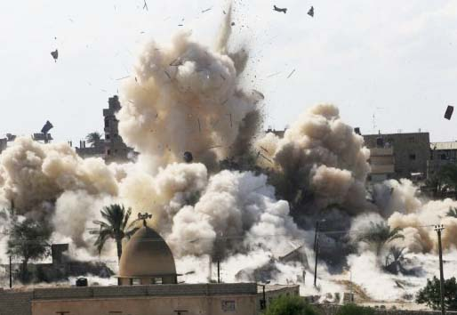 Egypt is destroying all houses in a buffer zone of 500 meters towards its borders with Gaza.