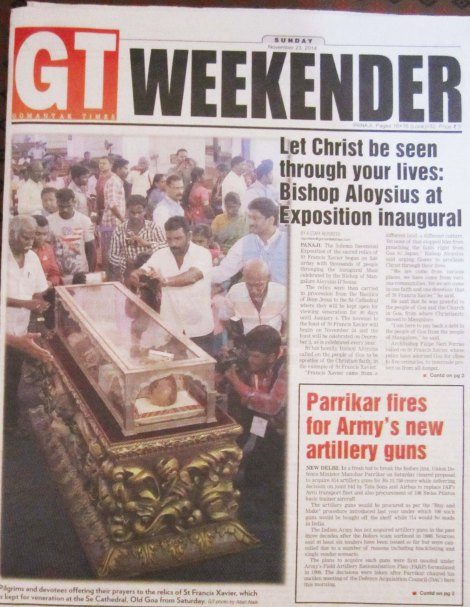 The local media in Goa is backing the Church, hoping the state will make a quick buck from the pilgrims.
