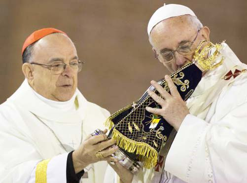 The Pope kiss a piece of wood, and claim this idol to be the mother of the Church.