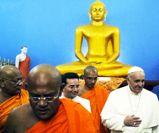 The Pope felt a strong desire to honor Buddah, during his visit to Sri Lanka.
