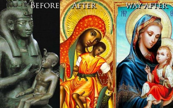 "The pagan ""Queen of Heaven"" reappers in the Roman Catholic religion, in the claimed to be ""Catholic Mary"" and her son."