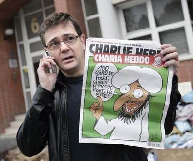 Chief  Editor Stephane Charbonnier was slaughtered by some sons of Muhammad.