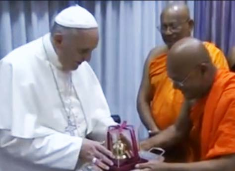 "The Pope acceptted a gift, a small temple with some ""holy relics"" of Buddah."