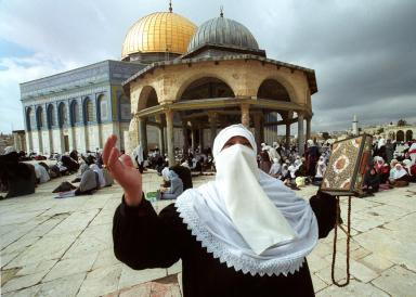 On the Temple Mount in Jerusalem only Muslim chanting chains and the Koran is permitted.