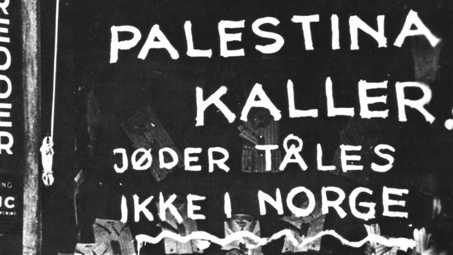 "A Nazi sign bord from war time Oslo. ""Palestine calls. No Jews will be tolerated in Norway""."