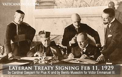 The ultimate betrayal of free Europe. The Vatican and Mussolini sign a treaty of alliance.