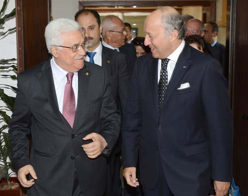 "Foreign Minister Laurent Fabius hail the PLO as a ""peace partner"" for Israel and the world."