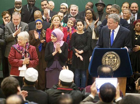 Mayor Bill de Blasio has surrederd New York to one of the demands within the Sharia law.