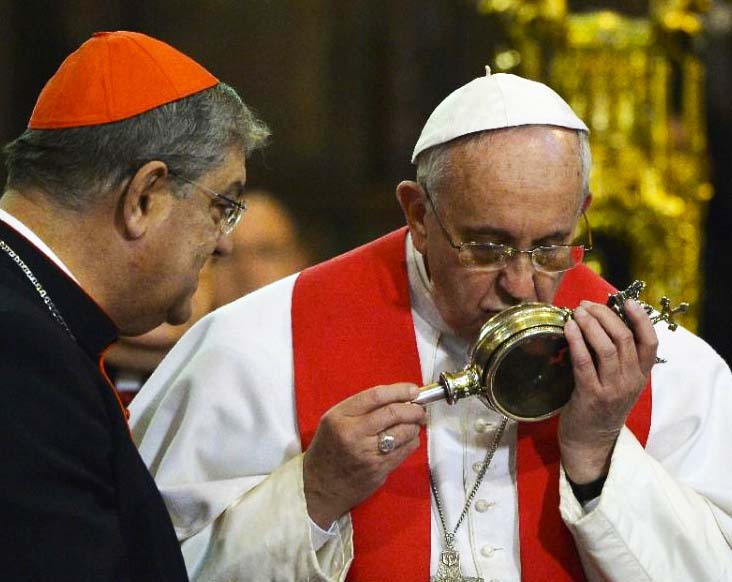 The Pope kiss the container with blood of a mortal man, and claim this to be holiness.