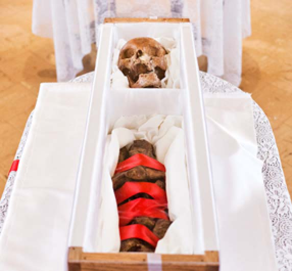 A Catholic nun has been exhumed, and her skull beutified for the purpuse of canonization.