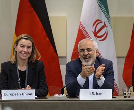 "EU walks in the footspeps of Hitler. Federica Mogherini makes Muhammad Zarif  a ""peace partner""."