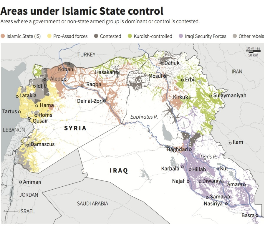 The US is activly involved in the Islamic civil war in Irak and Syria.