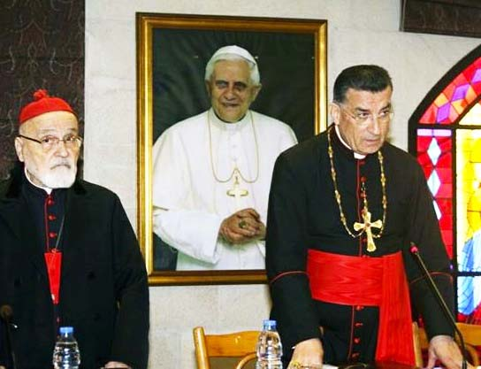 The Pope in Rome is the head of the Maronite Patriarch Beshara Rai,