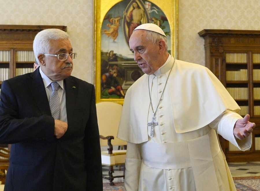 The Pope recognies Mahoud Abbas as a brother and a representative of God.