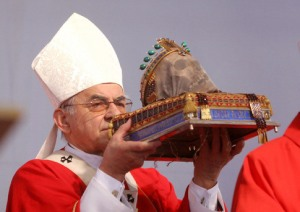 A Roman Catholic bishop has dressed up a skull for worship.