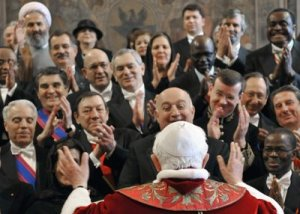The Pope is hailed by ambassadors from almost all nations.