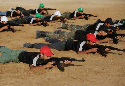 The PLO (al-Fatah) youth train for the planned destrcution of Israel.