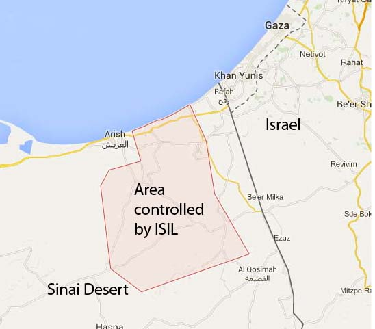 The Islamic state has taken control of an area in the Sinai, just south of the Israeli border.