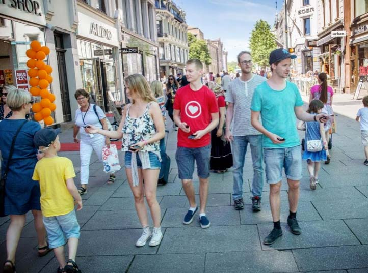 The claimed to be Christian youth seen  distributing condoms in Oslo in Norway.