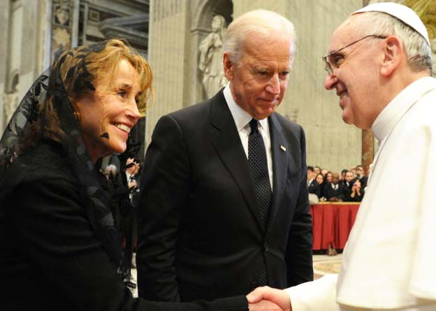 Vice President Joe Biden is a devoted Roman Catholic. In 2013 Biden and his wife meet the Pope.
