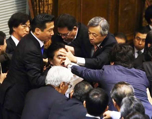 A knock out is expected to bring peace inside the parliament of Japan,
