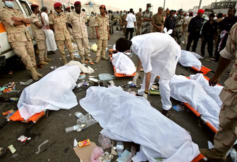Massive death of pilgrims during the hajj in Mecca in Saudi Arabia.
