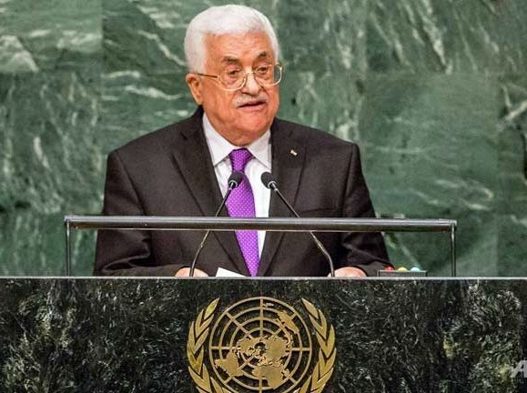 PLO leader Mahmoud Abbas hails the Pope in his address to the United Nations.
