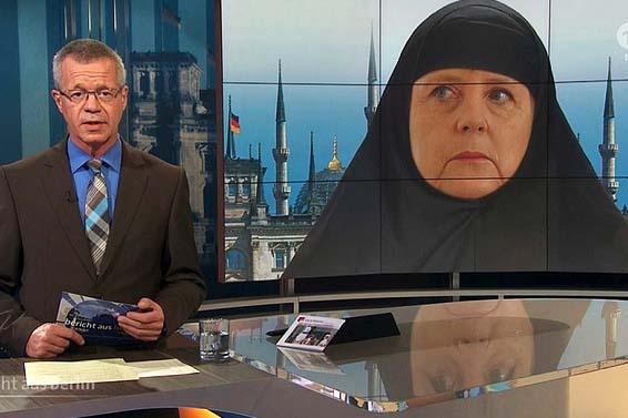 The ARD network in Germany presented the German leader as a religious Muslim.
