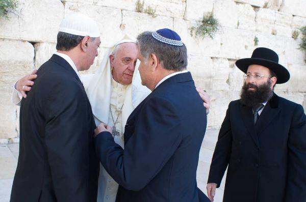 The Pope is the center of Interfaith prayers at the Western Wall in Jerusalem.